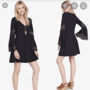 Express Black Dress Bell Lace Sleeves